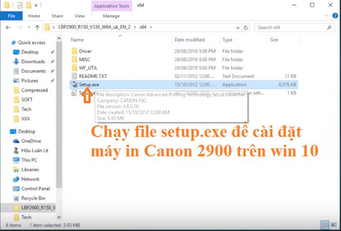 Chạy file setup để cài đặt máy in canon 2900 cho win 10 nhé